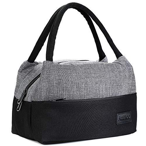 Amhoo Lunch Tasche klein Leicht Kühltasche Wasserdicht Isolierung Handtasche Faltbar Doppelter YKK-Reißverschluss 6L, für die Arbeit / Geh raus/ Schule/Damen / Kinder (grau-schwarz)