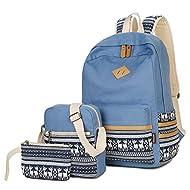 Greeniris Toile College Fille Sacs à dos scolaires Cartable Femmes Sac à dos 3 Pièces 2 Bleu clair