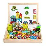 ITODA Steckpuzzle Kinderspielzeug für Kinder ab 2 Jahren Mädchen Jungen Magnetspielzeug Holzpuzzle Pädagogisches Spielzeug mit doppelseitiger Tafel Holzspielzeug Magnetisches Puzzle Stadtverkehr
