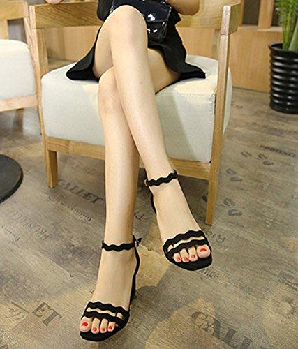 Scarpe da Donna Comode Sandali Donna con Tacc Accocinturino alla Caviglia Scarpe col Tacco Elegante e Raffinato per Spiaggia di Sabbia Festa Nozze Cocktail Partito Nero