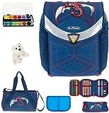 7 SET HERLITZ FLEXI PLUS Schulranzen Ranzenset Schultasche Mäppchen gefüllt + Sporttasche ek (Red Robo Dragon (30))