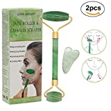 Jade Roller for Face Green,Gua Sha Scraping Green,Anti-Aging Massage Facial Roller,Roller for Face Neck Beauty,Natural Rose Quartz Roller,Rejuvenates Face and Neck Skin,Cheeks Slimmer,Skin Tightening
