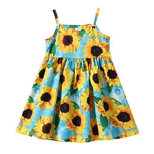 Pwtchenty Kleider Mädchen Sommer Kleider Outfit Set Partykleid Sommerkleid Baby Mädchen Kleidung Princess Dress Sonnenblumen Print 2019 Festliche Kleider Prinzessin Neugeborenes Kleidung Sommer Kleid Set