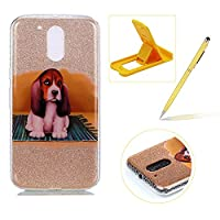 For Moto G4/G4 Plus Slim Fit Case,For Moto G4/G4 Plus Bling Glitter Case,Herzzer Luxury Stylish [Cute Puppy Pattern] Glitters Shiny Clear Soft Gel TPU Silicone Case Scratchproof TPU Bumper Protective Back Cases Cover For Moto G4/G4 Plus + 1 x Free Yellow