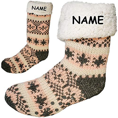 Preisvergleich Produktbild alles-meine.de GmbH Socken / Haussocken - Strick - Norweger Muster - ROSA / GRAU - Glitzer - Flausch gefüttert - incl. Name - Größe 36 bis 41 - Plüsch - Sohle Rutschfest - Wi..