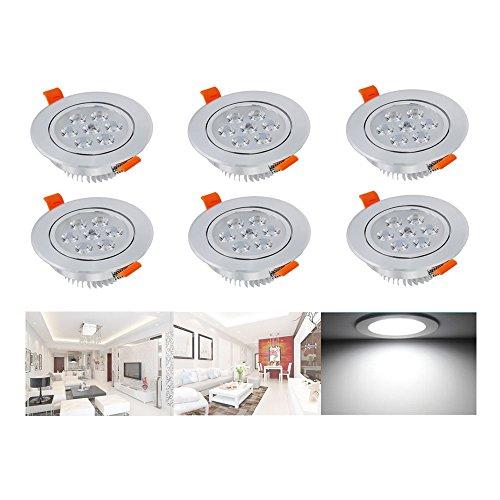 Hengda® LED Einbaustrahler Highpower Schwenkbar für den Wohnbereich | auch für das Bad geeignet | Kaltweiß | 7W 230V Einbauspots Badleuchten, 6er Pack Einbauleuchten (Fertig Glühlampe Wandleuchte)