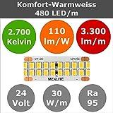 5m Mexlite HIGH-END LED-Stripe - 480LED/m 24V 30W/m Warmweiß 2700K Ra95 dimmbar 3300lm/m 110lm/W (Streifen, Band, Strip, Lichtband)