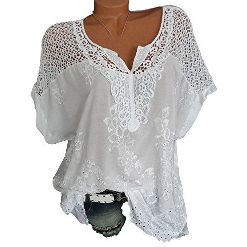 Aelegant Damen Sommer Hollow Blusen Kurzarmshirt mit Spitze V Ausschnitt Lässig Tops Fledermausärmel Lose Oberteile