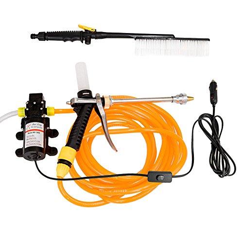nuzamas 60W 12V 87psi L/min de agua de alta presión de lavado Pistola coche eléctrico limpiador lavado Kit de bomba pulverizador Juego de brochas