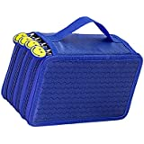 Imported 4 Layers Capacity Pencil Pen Case Travel Makeup Storage Bag Blue