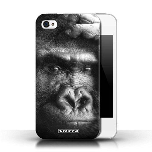 Stuff4 Hülle / Hülle für Apple iPhone 4/4S / Wolf Muster / Zoo-Tiere Kollektion Gorilla / Affe