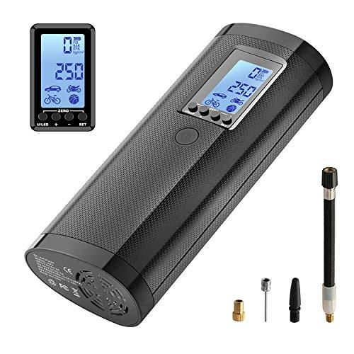 Compresseur d'air, Mini Compresseur Voiture 100 PSI avec Écran Digital LCD, Gonfleur Electrique sans Fil Batterie Lithium Rechargeable pour Vélos, Motos et Articles Gonflables