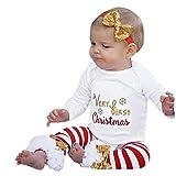Neugeborene Kleidung Schlafstrampler Longra 3 Stück Säugling Junge Mädchen Lange Ärmel Brief Weihnachten Strampler+ Stulpen + Bogen Stirnband Weihnachten Outfits Set Kleider (White, 80CM 12Monate)