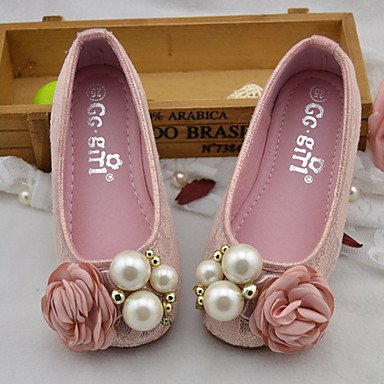 LIDOG Mariage Extérieure Habillé Décontracté Soirée & Evénement-Rose Or-Talon Plat-Confort Light Up Chaussures-Ballerines-Similicuir Pink