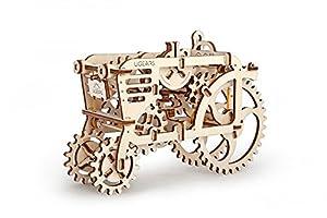 UGEARS Tractor Remolque Mecánico 3D Rompecabezas de Madera Kit de Construcción Sin Pegamento para Niños y Adultos Puzzle (70003)