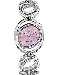 Go Girl Only 694822 Damen-Armbanduhr, Quarz, analog, rosafarbiges Zifferblatt, silberfarbenes Metallarmband