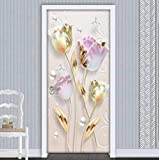 HQDOC 3D Stickers Porte Poster Fleur Rose Rose Papier Peint Porte Trompe l'oeil Art Murale Décoration Stickers Muraux Auto-adhésif Imperméable Amovible PVC pour La Maison Chambre 77x200cm(B x H)