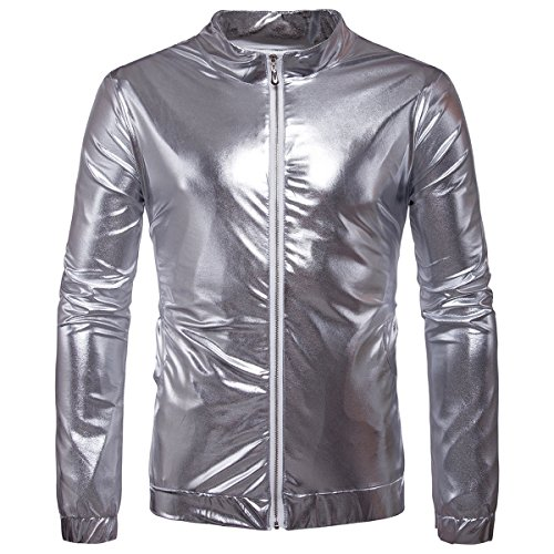 Kostüm Tanzen Disco - AOWOFS Herren Jacke Regular Fit Metallic Glänzend Blouson Kostüm für Nightclub Party Tanzen Disco Halloween Cosplay