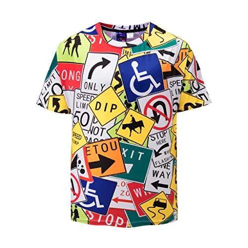UJUNAOR Herren Lustig 3D-Digitaldruck T-Shirt mit Rundhalsausschnitt Lässig -