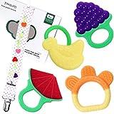 Beißring,Tinabless Silikon-Zehne Beißring Cool für babys Kleinkind Jungen Mädchen BPA-freie Zahnen Set - 4 Stück