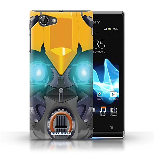 Kobalt® Imprimé Etui / Coque pour Sony Xperia J (ST26i) / Mega-Bot Jaune conception / Série Robots Bumble-Bot Jaune