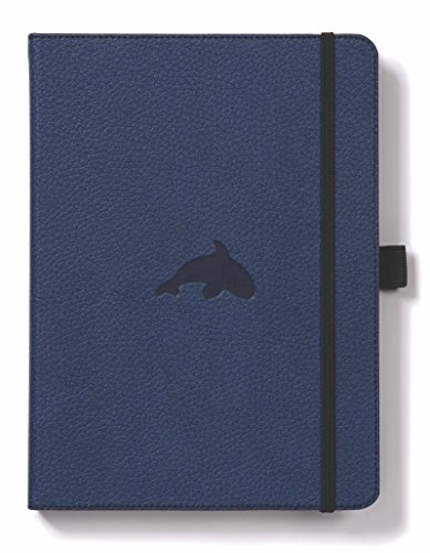 Dingbats D5017BL Wildlife A5+ Hardcover Notizbuch - PU-Leder, Mikroperforiert 100gsm Creme Seiten, Innentasche, Gummiband, Stifthalter, Lesezeichen (Kariert, Blauwal)