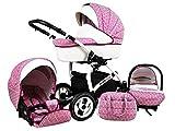 Kinderwagen whitelux, 3 in 1- Set Wanne Buggy Babyschale rosa