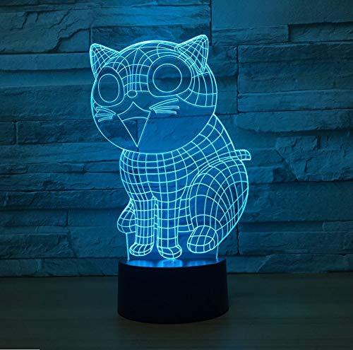 lo Lindo Gato 3D Lámpara Led 7 Lámparas Nocturnas De Color Para Niños Toque Led Usb Lámpara De Mesa Bebé Durmiendo ()