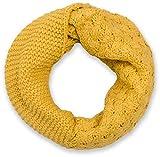 styleBREAKER Strick Loop Schal mit Mustermix, Uni Feinstrick Schlauchschal, Winter Strickschal, Unisex 01018153, Farbe:Curry