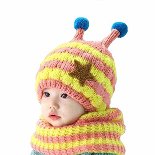 JT-Amigo Sciarpa e Berretto Cappello Invernale a maglia Bimba Bambina Disegni Ape Rosa