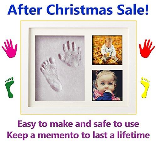 Baby Hand und Fußabdruck Rahmen Set von La Mangouste–Easy Clay Zierleiste Kit–perfekte Geschenk für Neugeborene, Babys oder Kleinkinder–Jungen und Mädchen–Eine ausgezeichnete Weihnachtsgeschenk–New für 2017