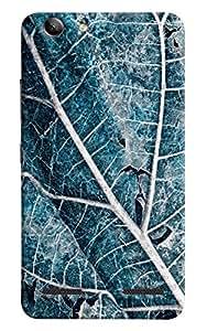 Omnam Blue Leaf With Cloesup Pattern Printed Designer Back Cover Case For Lenovo Vibe K5 Plus