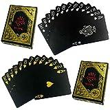 HAC24 2X 54 Blatt Wasserfeste Premium Plastik Spielkarten Schwarz | Profi Pokerkarten | Kunststoff Poker Skat Karten | Playing Cards