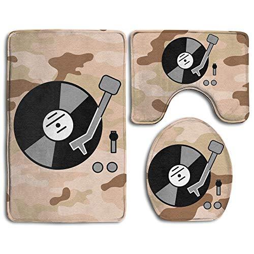 Turntable Music Vinyl Record DJ Fashion Bath Mat Set Bathroom Accessories Bath Rug Sets 3 Piece