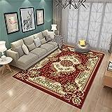Retro Luxus Teppich, Matte rutschfeste Druckboden Teppich für Wohnzimmer Couchtisch Zimmer Schlafzimmer Dekor 260