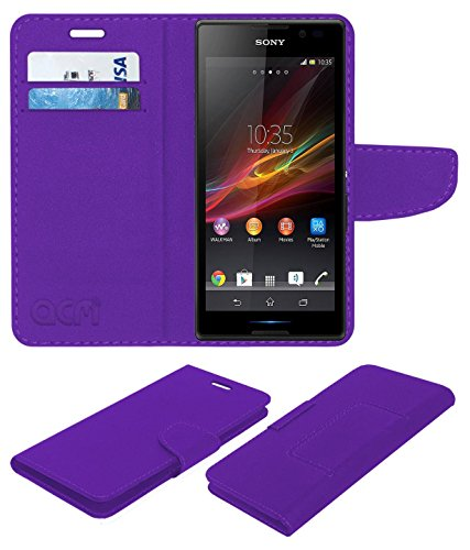ACM Mobile Leather Flip Flap Wallet Case for Sony Xperia C C2305 Mobile Cover Purple