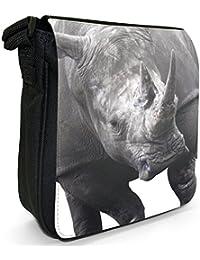 Black & White Rhino Small Black Canvas Shoulder Bag / Handbag