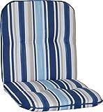 Beo Gartenstuhlauflage Gartenstuhlkissen Sitzkissen Polster für Niedriglehner Gartenstühle Streifen Hellblau, Blau, Weiss und Beige
