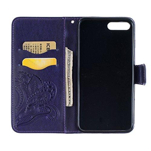 iPhone 7 Plus 2016 Lederhülle,iPhone 7 Plus 2016 Brieftasche,JAWSEU Retro Prägung Pfaublume Muster Strap Pu Ledertasche Wallet Brieftasche im Book Style Protektiv Schutzhülle Handyhülle Etui Case Cove Pfaublume,Lila