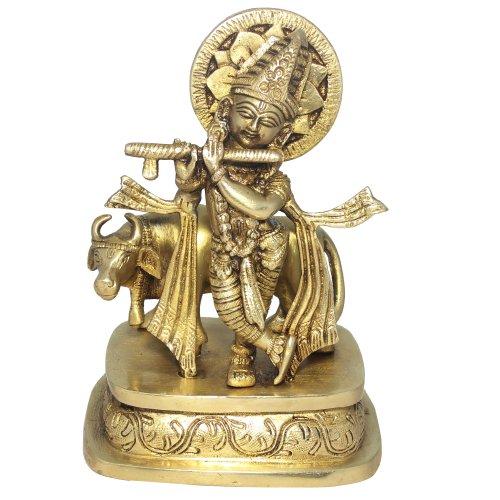 Spirituelle Geschenke Hindu Lord Krishna Messing Skulptur spielt Flöte mit Kuh