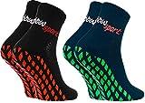 Rainbow Socks - Damen Herren Neon Sneaker Sport Stoppersocken - 2 Paar - Blau Schwarz - Größen: EU...