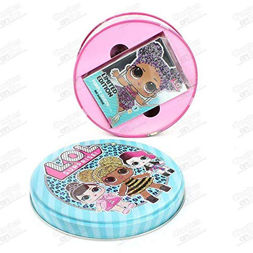 Round metal box. Contains LOL collectible cards.