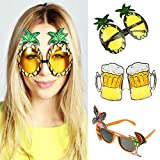 vlovelife Set von 3lustige Party Sonnenbrille Ananas + Bier + Flamingo Tropical Hawaiian Luau Sommer Party Brille Hochzeit Dekoration für Gastgeschenken Unisex 6'' x 4'' Mix 3 Colors