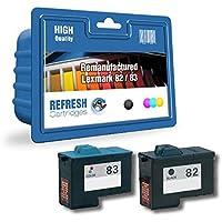 Pacco Da 2 Lexmark 82/83 (nero 18L0032 /tri-colore 18L0042) rigenerate cartucce da usare con Lexmark X6170, X6150, X6190, X5100, X5130, X5150, X5190, Z55, Z65, Z65N stampanti - per Refresh Cartridges