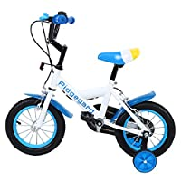 MuGuang 12 Inch Children Bike Child Bicycle Study Learning Riding Bike Boys Girls Bicycle with Training Wheels with Bell for 3-6 Years(Blue)