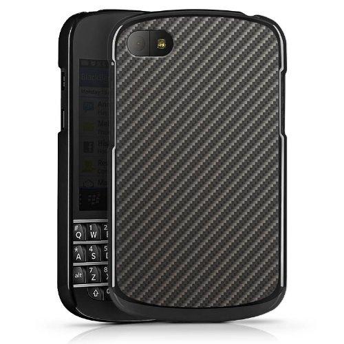DeinDesign Blackberry Q10 Hülle Schutz Hard Case Cover Carbon Erscheinungsbild Schwarz Grau Metall