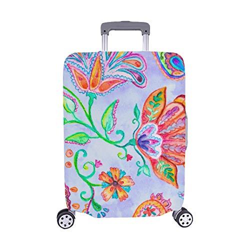 Bunte Blumen Flores Tulpen Blätter Muster Spandex Trolley Reisegepäck Beschützer Koffer Cover 28,5 X 20,5 Zoll -