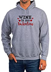 Idea Regalo - BlackMeow Wine Is My Valentine Grey Unisex Hoodie - Small