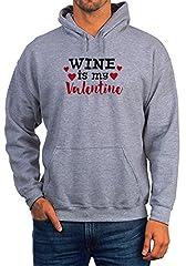 Idea Regalo - BlackMeow Wine Is My Valentine Grey Unisex Hoodie - Small