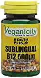 Veganicity Vitamin B12 500µg Sublingual (Methylcobalamin) : Vitamin B12 Supplement : 90 Tablets from Health + Plus Ltd